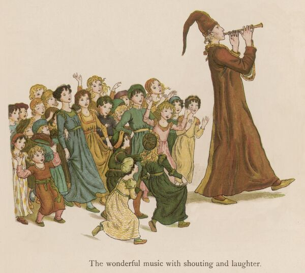 The Pied Piper leads the children away from the town