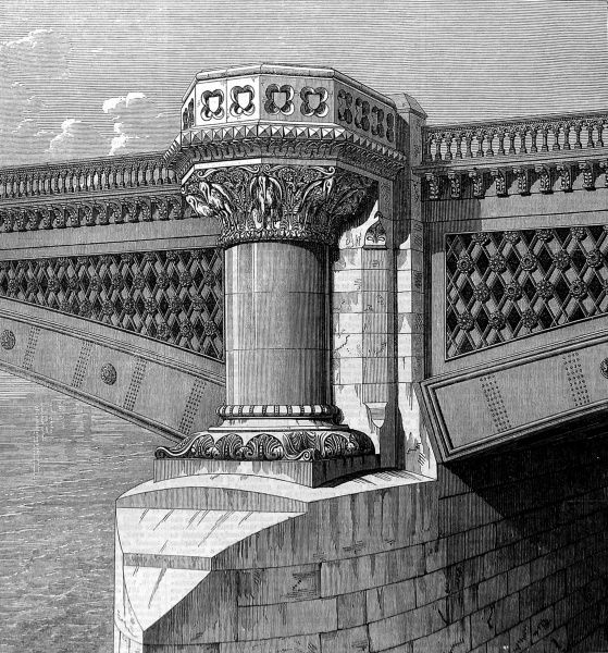 Engraving showing one of the piers of the-then newly opened Blackfriars Bridge, London, 1869