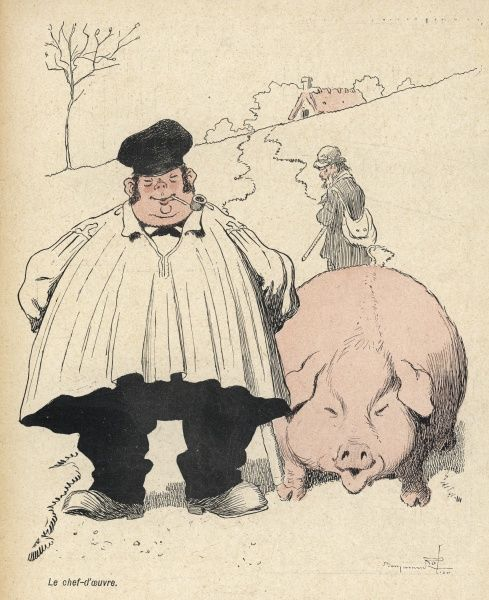A plump pig and its equally plump owner