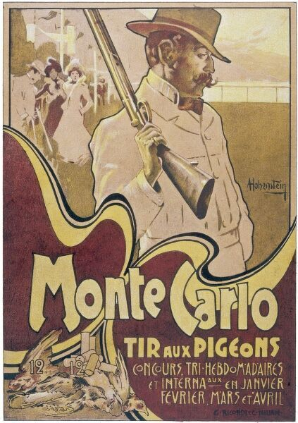 Poster for the TIR AUX PIGEONS at Monte Carlo where fashionable people in smart clothes shoot live pigeons for fun