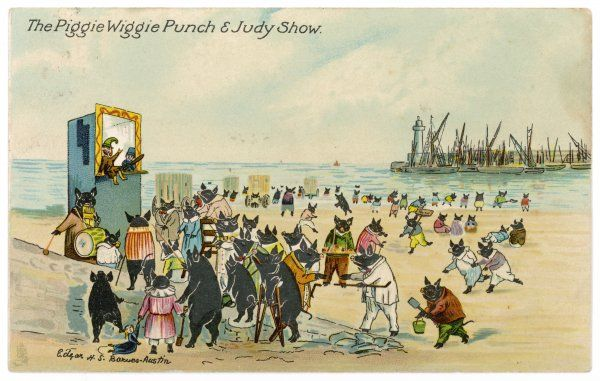 Pigs on the beach watching a Punch and Judy Show