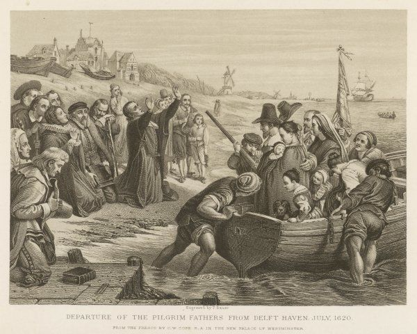 The 'pilgrims' leave Delft, in the Netherlands, the first leg of their journey to America