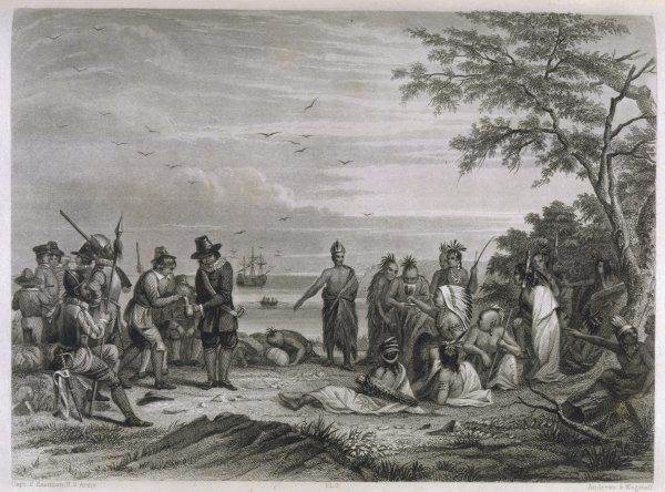 The 'pilgrims' are visited by Massasoit, chief of the Pokanokets