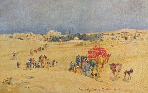 The Pilgrimage to Abu Seri' A. Situated in the desert about 40 miles east of Helwan, the sacred tombs of Abu Seri' A are the object of a great annual pilgrimage