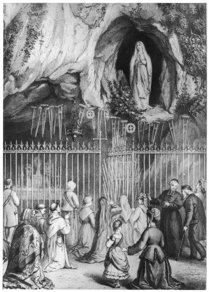 Pilgrims at the grotto - priests, peasants and fashionably dressed folk