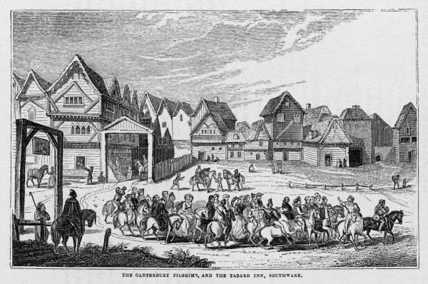 The pilgrims leave the Tabard Inn Southwark on their pilgrimage to Canterbury