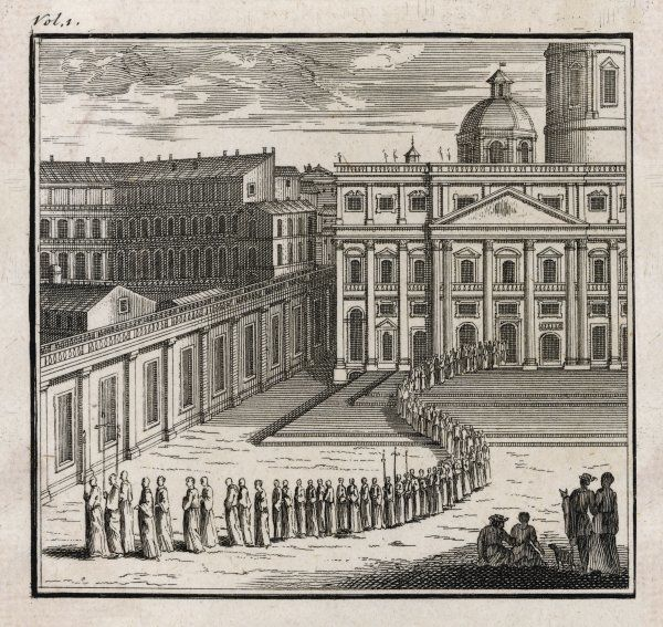 Pilgrims go in procession to visit the seven churches of Rome (though of course there are many more than seven !)