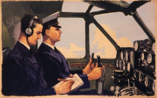 The cockpit of a large airliner with pilot and co-pilot. Poster issued by Le Secretariat General a la Defense Aerienne