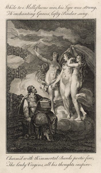 PINDAR - Greek lyric poet (author of 'Odes of Victory' and many others) - charming the Three Graces in this scene