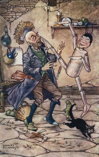 When Geppetto had finished the feet he received a kick on the point of his nose Date: First published: 1880