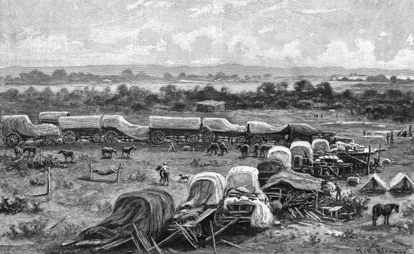 The Pioneer Force of Cecil Rhodes and the South Africa Company at the Tuli River, in Mashonaland, Southern Rhodesia (present day Zimbabwe) during the annexation of the region by the British. Picture shows the laager or camp of the Pioneer Corps