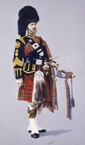 Pipe Major of the Royal Scots Dragoon Guards (Carabiniers and Greys) in Full ceremonial dress. Painting by Malcolm Greensmith