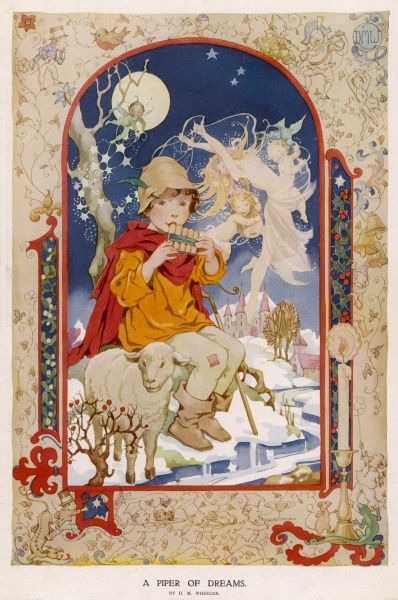 Child-like piper in a fantastic, moonlit snowy landscape, surrounded by fairies, pixies and cupids. The 'illuminated' border shows various Christmas and nursery characters and motifs