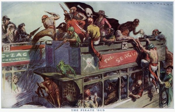 A group of pirates have taken over a open top public bus, they are about to take over another, but they have come against residents from a lady passenger with an umbrella. Date: 1927