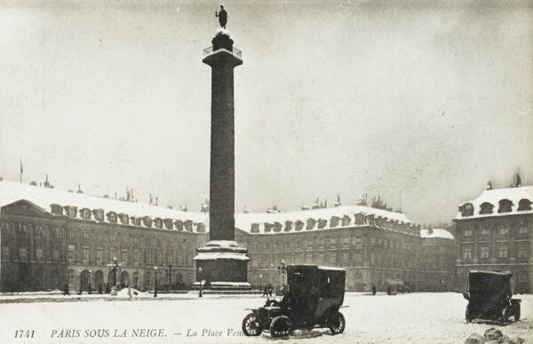 Place Vendome, Paris under snow - photograph taken from the front door of the Ritz Hotel. The column is 44 metres high - encased in the bronze of 1250 cannons captured at the Battle of Austerliz (1805). Designed by Denon-Gondouin and Lepere
