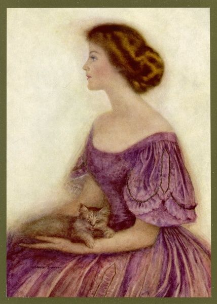 Placid girl with tranquil cat