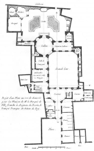 Plan of the ground floor of a marquis house in 18th century France. Designed by Francois Franque, architect of king Louis XV, for the Marquis of Ville Franche in Avignon. Date: Circa 1760
