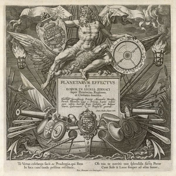 Title page of 'Planetarum effectus', showing Jove/Zeus with eagle and thunderbolts, ruling the heavens of which he has a cosmic blueprint with the zodiacal signs