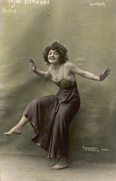 Mlle Demours as the character Lysistrate in the anti war comedy
