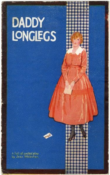 "DADDY LONGLEGS ""A 'full of smiles' play."" A woman in a pink dress appears on the front of the promotional brochure"