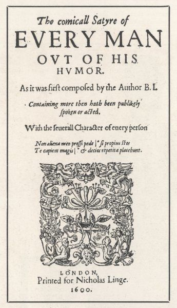 EVERYMAN OUT OF HIS HUMOUR - frontispiece of 1600 edition