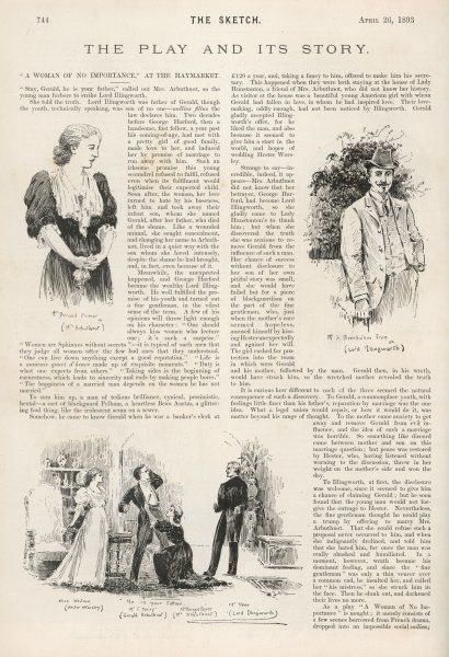 A review in The Sketch with pictures of Herbert Beerbohm Tree as Lord Illingworth and Mrs Bernard Beere as Mrs Arbuthnot