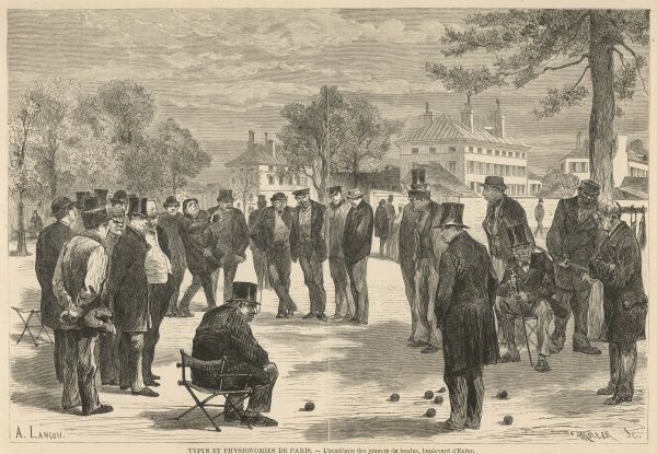 A group of men, many in top hats, gather round to watch those playing boules on the Boulevard d'Enfer in Paris