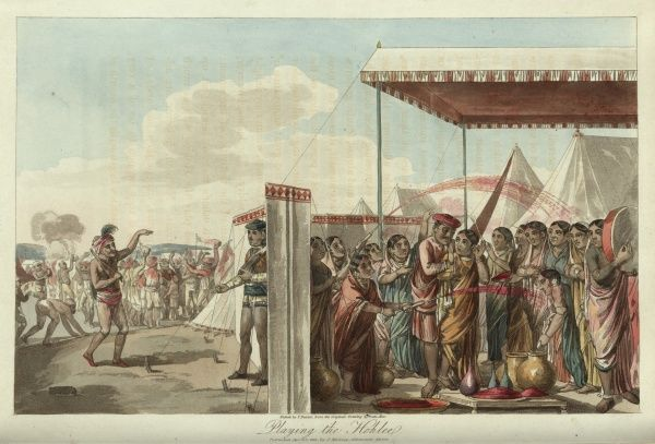 Playing the Hohlee. Holi, or Holli, is a spring festival celebrated by Hindus. The image depicts the celebrations during the festival with musicians and dancers. 1809