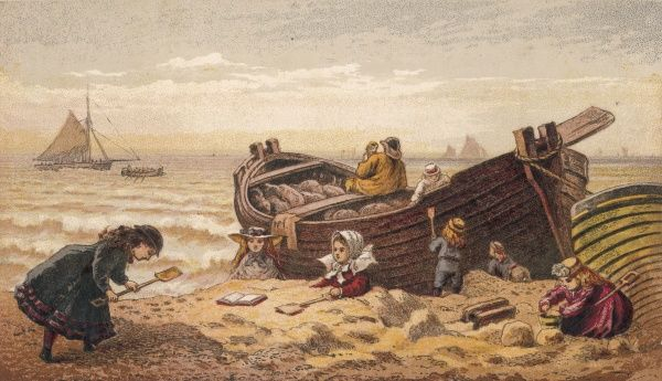 A group of children play in the sand near a fishing boat whose owner is telling fishy stories to a little girl