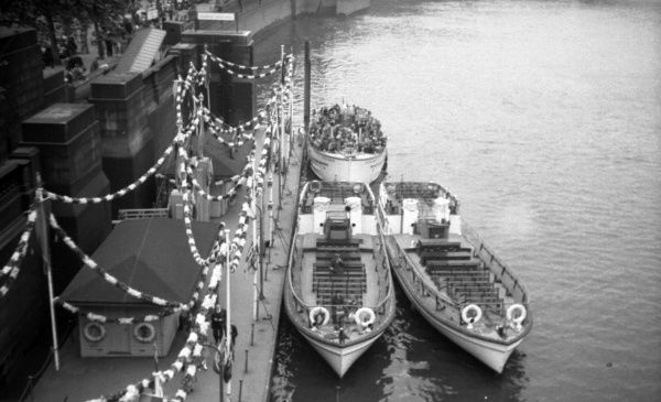 Pleasure boats at Westminster Pier Coronation Derby Day  6th June 1953
