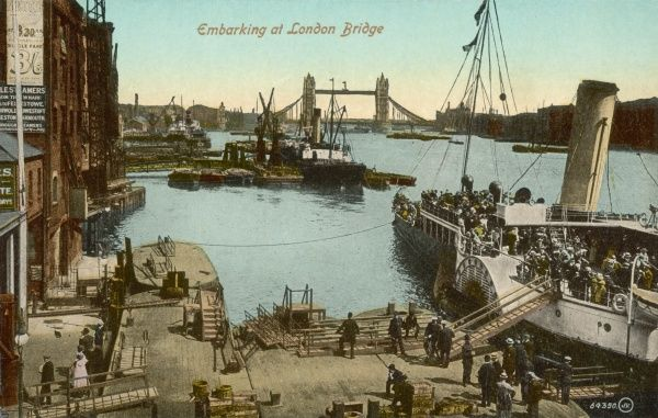 Embarking on a Pleasure Steamer on the River Thames near London Bridge, London, England