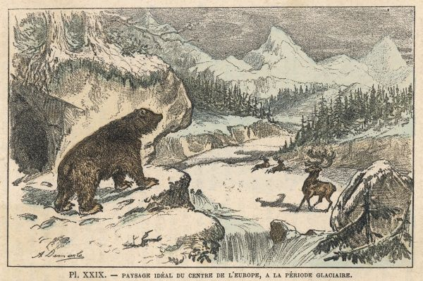 In an Ice Age (Pleistocene) landscape, a bear emerges from its cave to find that the world is still covered with ice and snow, just like yesterday and the day before