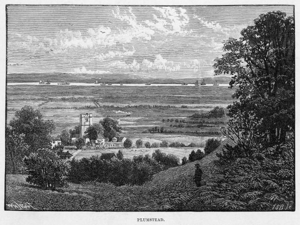 Distant view of Plumstead in south east London, showing a church, the marshes, and the Thames in the distance