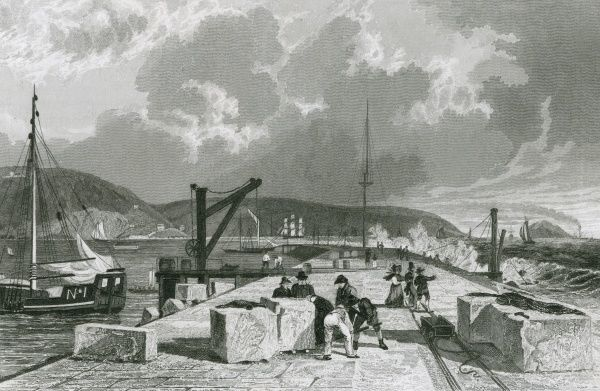 The new breakwater at Plymouth, Devonshire, viewed from the west Date: 1829