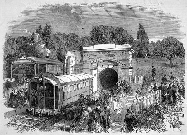 Pneumatic railway for passengers in the grounds of the Crystal Palace. A model from the invention by T. W Rammell was exhibited and ran from the Sydenham entrance to the armoury, a distance of 600 yards