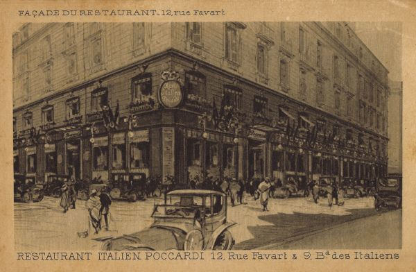 The exterior of the Italian Pocccardi Restaurant, Paris at 19 Rue Favart and 9 Boulevard Des Italiens Date: 1920s