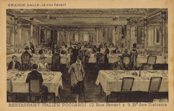 The main room of the Italian Pocccardi Restaurant, Paris at 19 Rue Favart and 9 Boulevard Des Italiens Date: 1920s
