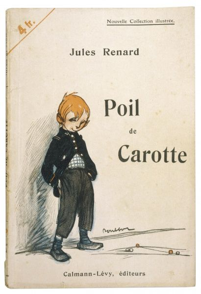 'Poil de Carotte': the little red-head, leaning against a wall, looking mischievious