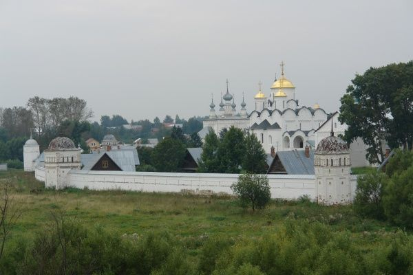 View of the Pokrov Monastery, or Convent of the Intercession, in Suzdal, Russia. It was founded in 1364, and includes hotel accommodation
