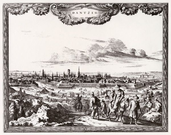 Gdansk, formerly Danzig: distant view, with travellers in the foreground