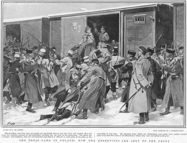 Poles are understandably reluctant to help their Russian overlords fight the Japanese : men are forced into railway wagons which will carry them to the front