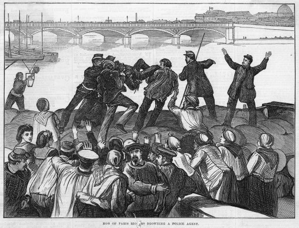 A police agent is set upon by the mob and drowned in the Seine