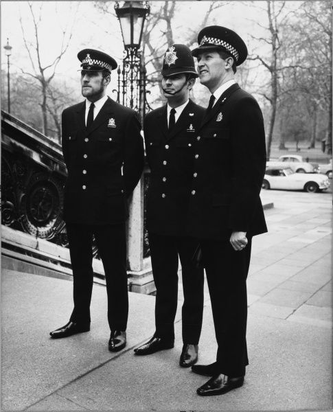Police officers wearing experimental uniforms from 1969 - Not general issue. Metropolitan Police Date: 1969