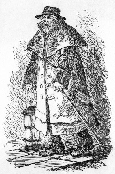 A night watchman on his rounds. At the time, the night watchmen were the only public policing body in London. Date: 1827