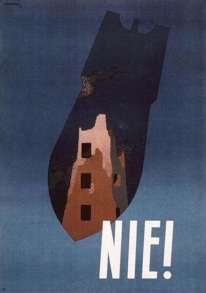 Polish anti-war poster of a ruined city in the silhouette of a falling bomb, with the single word Nie (No)