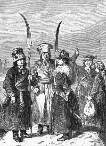 After the Second Partition (1793) Polish patriots led by Kosciuszko rebel against the occupying forces : many of his supporters are peasants armed only with scythes. Date: 1794