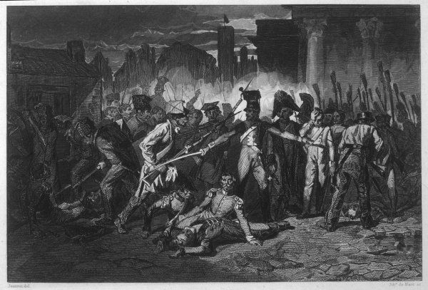 During the November Uprising, also known as the Cadet Revolution (1830-1831), Polish patriots attempt (unsuccessfully) to throw off Russian domination. Depicted here is street fighting in Warsaw, on the first day of the uprising
