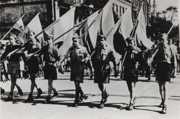 Polish Scouts on parade. circa 1930s