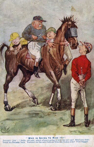"""Who is Going to Ride it?"" Joseph Chamberlain watches on in amusement as three jockeys (including Sir Henry Campbell-Bannerman (seated) and Herbert Henry Asquith) attempt to mount an old blindfolded racehorse (symbolising the ruling government"