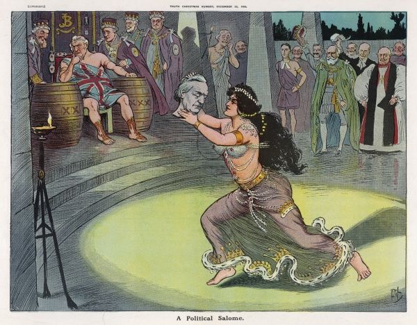 Salome - representing the womens rights activists - demands the head of Asquith, their fiercest opponent